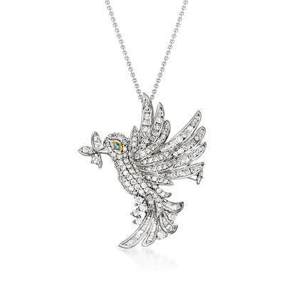 C. 1990 Vintage 1.75 ct. t.w. Diamond Hummingbird Pin/Pendant Necklace with Sapphire Accent in 18kt White Gold