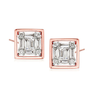 .35 ct. t.w. Round and Baguette Diamond Square Earrings in 18kt Rose Gold, , default