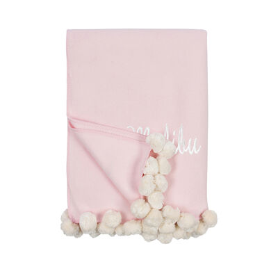 Pink and Ivory Pom Pom Throw Blanket, , default