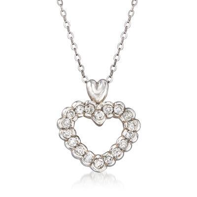 C. 1980 Vintage .75 ct. t.w. Diamond Heart Pendant Necklace in 14kt White Gold, , default