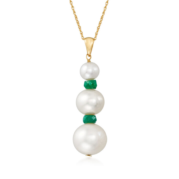 5-10mm Cultured Pearl and 1.40 ct. t.w. Emerald Pendant Necklace in 14kt Yellow Gold