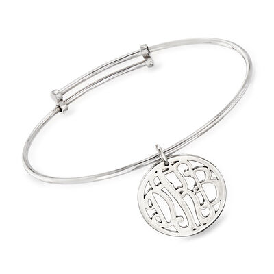 Sterling Silver Personalized Monogram Bangle Bracelet