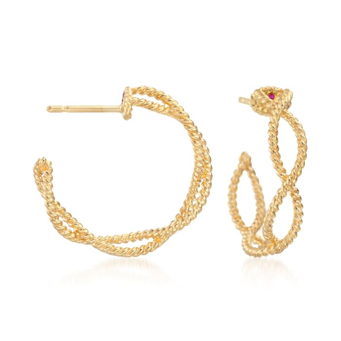 """Roberto Coin """"Barocco"""" 18kt Yellow Gold Braided Hoop Earrings. 3/4"""", , default"""