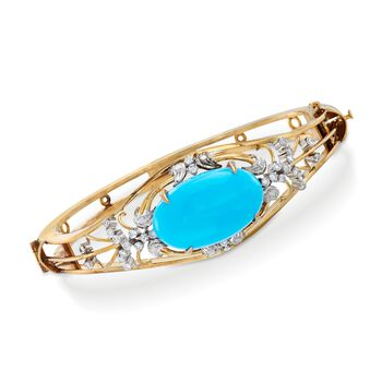 """C. 1950 Vintage Turquoise and .70 ct. t.w. Diamond Bangle Bracelet in 10kt Yellow Gold. 7.5"""", , default"""