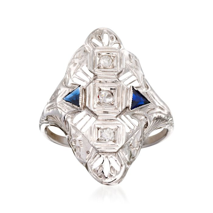 C. 1950 Vintage .15 ct. t.w. Synthetic Sapphire and .12 ct. t.w. Diamond Ring in 18kt White Gold. Size 6.75, , default
