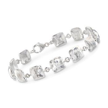 """Zina Sterling Silver """"Sahara"""" Hammered Pillow Station Bracelet. 7.5"""", , default"""