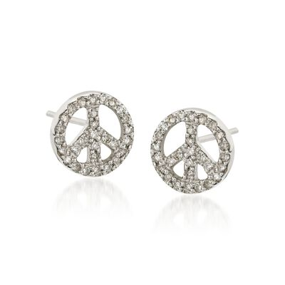 .30 ct. t.w. Diamond Peace Sign Earrings in 14kt White Gold, , default