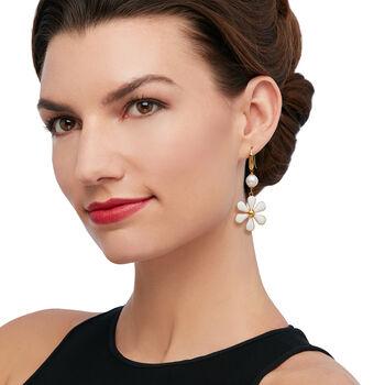 Italian Cultured Pearl and White Enamel Flower Drop Earrings, , default