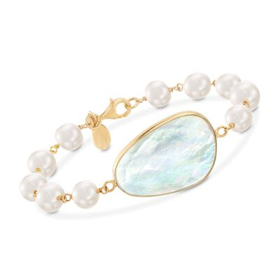 Mother-Of-Pearl Doublet and 8-9mm Cultured Pearl Bracelet in 18kt Gold Over Sterling, , default