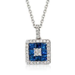 "Gregg Ruth .75 ct. t.w. Sapphire and .25 ct. t.w. Diamond Necklace in 18kt White Gold. 18"", , default"
