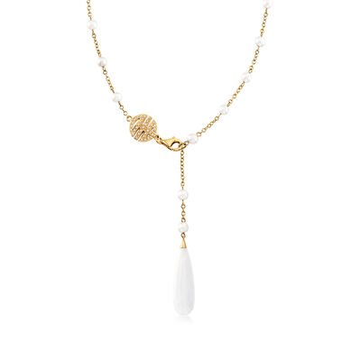 C. 1990 Vintage Mimi Milano White Agate, 4.8-4.5mm Cultured Pearl and .20 ct. t.w. Diamond Station Necklace in 18kt Yellow Gold, , default