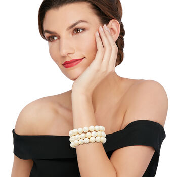 "12mm Mother-Of-Pearl Bead Set: Three Stretch Bracelets. 7"", , default"
