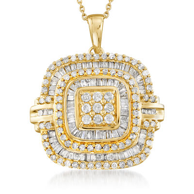 1.50 ct. t.w. Baguette and Round Diamond Pendant Necklace in 18kt Gold Over Sterling, , default