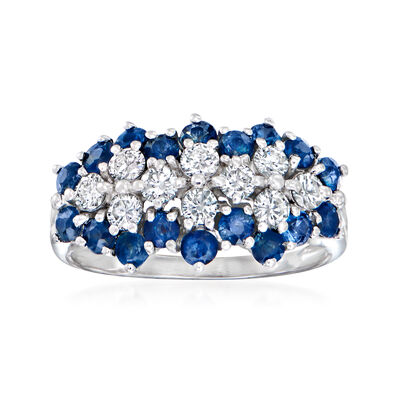 C. 1980 Vintage 1.50 ct. t.w. Sapphire and .70 ct. t.w. Diamond Cluster Ring in 14kt White Gold