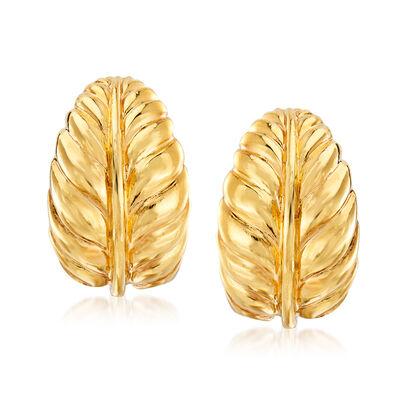 Italian 18kt Yellow Gold Leaf Clip-On Earrings