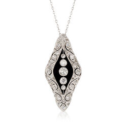 C. 1980 Vintage Onyx and 2.25 ct. t.w. Diamond Pendant Necklace in Platinum, , default