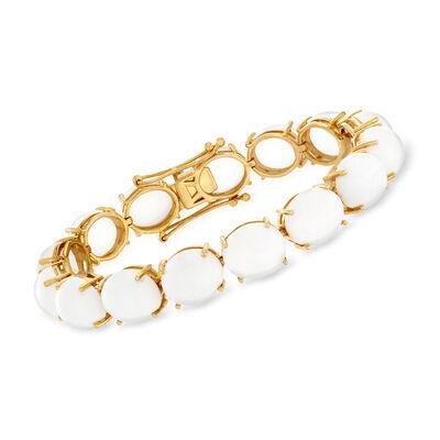 White Agate Bracelet in 18kt Gold Over Sterling, , default