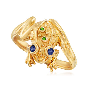 .10 ct. t.w. Sapphire Frog Ring with Green Chrome Diopside Accents in 18kt Gold Over Sterling, , default