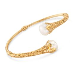Italian 12-12.5mm Cultured Pearl Filigree Bypass Bracelet in 14kt Yellow Gold, , default