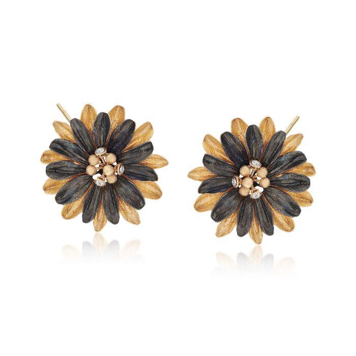 Italian Crystal Gunmetal Flower Earrings in 18kt Gold Over Sterling, , default