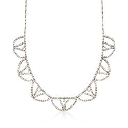 """12.25 ct. t.w. Diamond Scalloped Necklace in 14kt White Gold. 16"""", , default"""