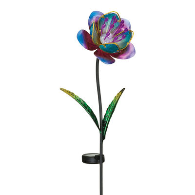 "Regal ""Mystic Flower"" Set of 2 Purple Solar Garden Stakes"
