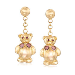 C. 1990 Vintage .50 ct. t.w. Yellow Sapphire Bear Drop Earrings in 18kt Yellow Gold With Ruby Accents , , default