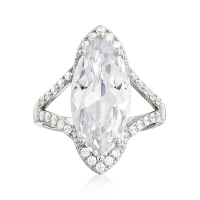 5.40 ct. t.w. CZ Marquise Ring in Sterling Silver, , default