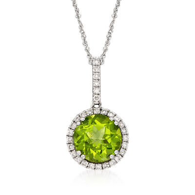 3.10 Carat Peridot and .45 ct. t.w. Diamond Pendant Necklace in 14kt White Gold, , default