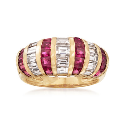 C. 1990 Vintage 1.78 ct. t.w. Ruby and 1.50 ct. t.w. Diamond Ring in 18kt Yellow Gold, , default