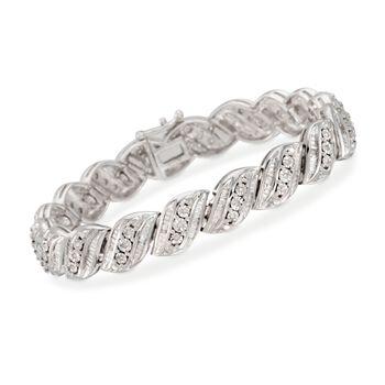 """1.00 ct. t.w. Diamond San Marco Bracelet in Sterling Silver. 7"""", , default"""