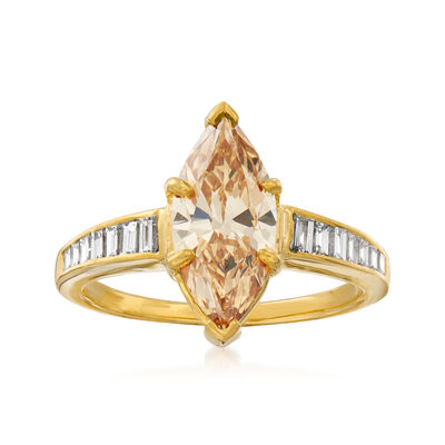 C. 2000 Vintage 2.02 Carat Certified Yellow Diamond and .60 ct. t.w. White Diamond Engagement Ring in 18kt Yellow Gold