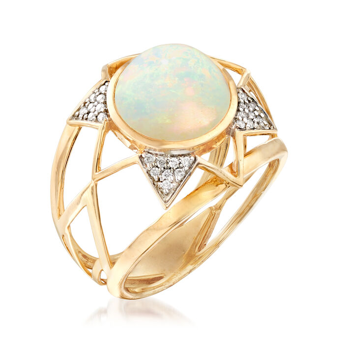 Ethiopian Opal and .10 ct. t.w. Pave Diamond Dome Ring in 14kt Yellow Gold
