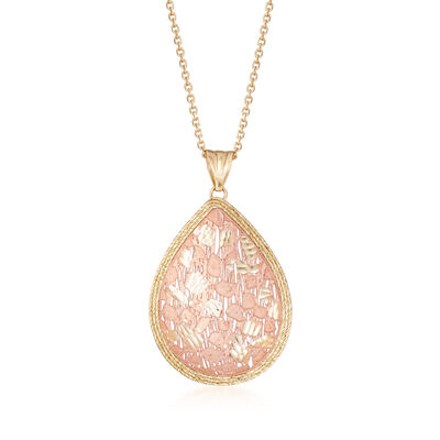 Italian Teardrop Pendant Necklace in 14kt Two-Tone Gold, , default