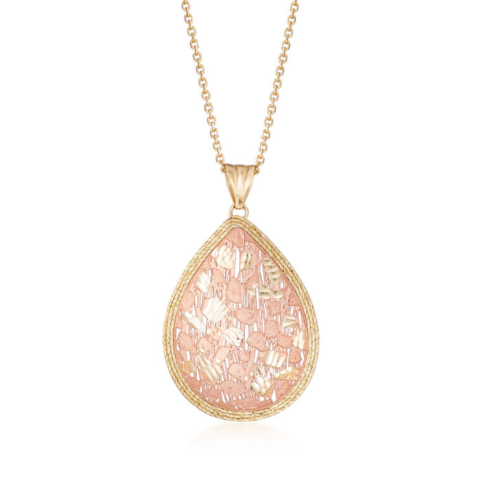 "Italian Teardrop Pendant Necklace in 14kt Two-Tone Gold. 18"", , default"