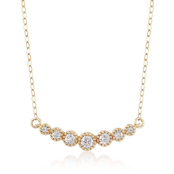 .28 ct. t.w. CZ Curved Bar Necklace in 14kt Yellow Gold