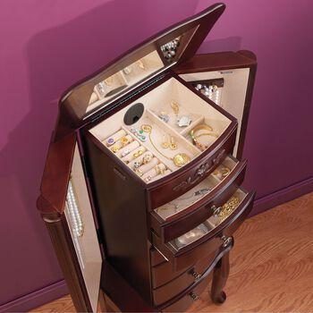 Walnut Finish - Cabriole Jewelry Armoire , , default