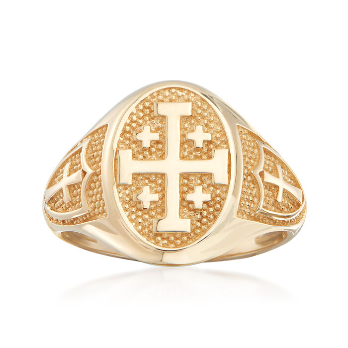 14kt Yellow Gold Multi-Cross Signet Ring, , default
