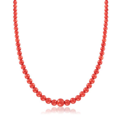 C. 1970 Vintage Red Coral Bead Necklace with 14kt Yellow Gold, , default