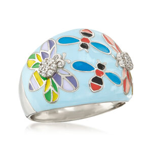 .10 ct. t.w. White Topaz and Multicolored Enamel Critter Ring in Sterling Silver #930735