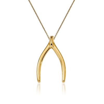 14kt Yellow Gold Wishbone Pendant Necklace, , default