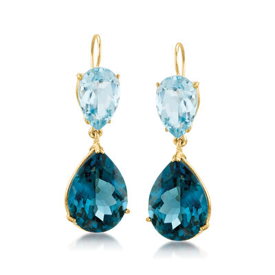 25.00 ct. t.w. Tonal Blue Topaz Dangle Earrings in 14kt Yellow Gold