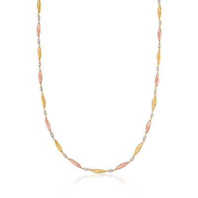 Italian 18kt Tri-Colored Gold Diamond-Cut Bead Station Necklace, , default