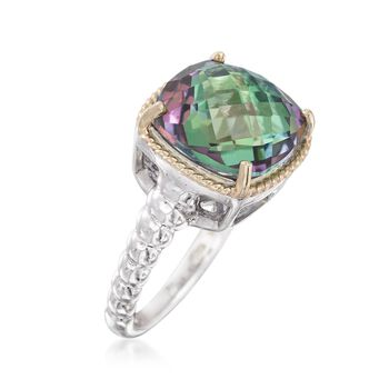 6.00 Carat Mystic Quartz Ring in Sterling Silver and 14kt Yellow Gold, , default