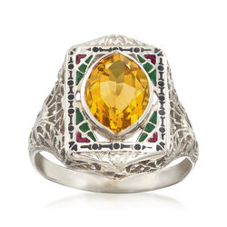 C. 1950 Vintage 1.75 Carat Citrine and Multicolored Enamel Frame Ring in 14kt White Gold, , default