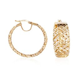 "Italian 14kt Yellow Gold Flex Hoop Earrings. 1 1/4"", , default"