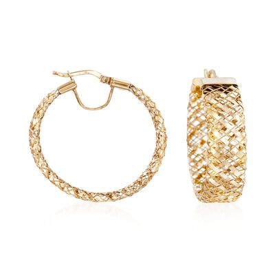 Italian 14kt Yellow Gold Flex Hoop Earrings, , default