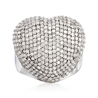 3.00 ct. t.w. Diamond Heart Ring in Sterling Silver, , default