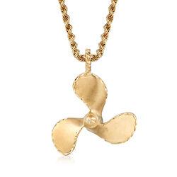 C. 1980 Vintage 14kt Yellow Gold Propeller Pendant Necklace, , default