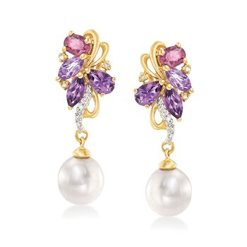 7mm Cultured Pearl and 1.20 ct. t.w. Multi-Stone Drop Earrings With Diamond Accents in 14kt Yellow Gold, , default